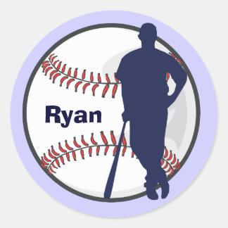 Joueur de baseball personnalisé sticker rond