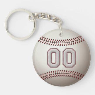 Joueur numéro 00 - points frais de base-ball porte-clé rond en acrylique double face