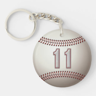 Joueur numéro 11 - points frais de base-ball porte-clé rond en acrylique double face