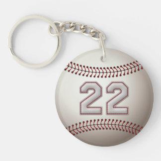 Joueur numéro 22 - points frais de base-ball porte-clé rond en acrylique double face