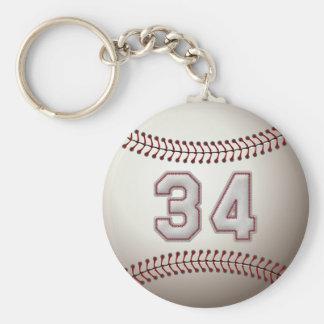 Joueur numéro 34 - points frais de base-ball porte-clé rond