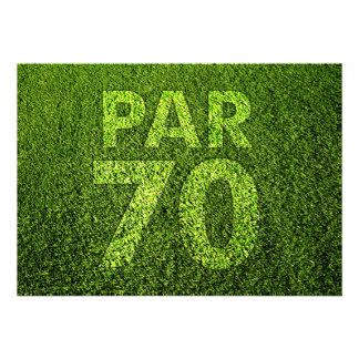 Jouez au golf la soixante-dixième fête d'anniversa cartons d'invitation