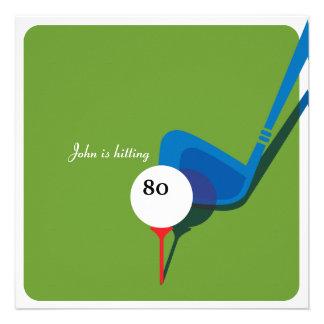 Jouez au golf le quatre-vingtième anniversaire - e faire-part personnalisables