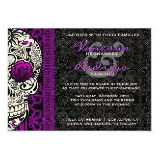 Jour de fantaisie de crâne de sucre de dentelle de carton d'invitation  12,7 cm x 17,78 cm