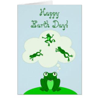 Jour de la terre vert heureux avec la grenouille carte de correspondance