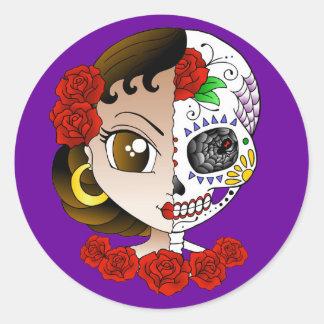 Jour de l'autocollant mort de fille sticker rond