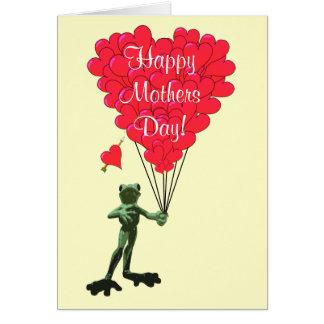 Jour de mères romantique de grenouille carte de correspondance