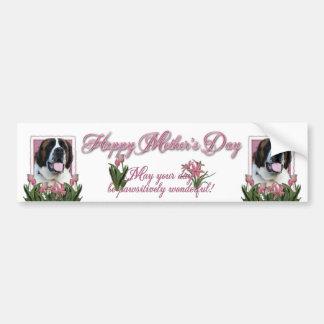 Jour de mères - tulipes roses - St Bernard - Mae Autocollant De Voiture