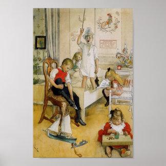 Jour de Noël dans la crèche Poster