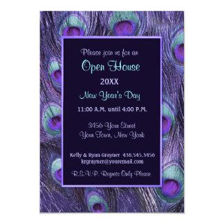 Jour de nouvelles années de paon - Chambre ouverte Carton D'invitation 12,7 Cm X 17,78 Cm