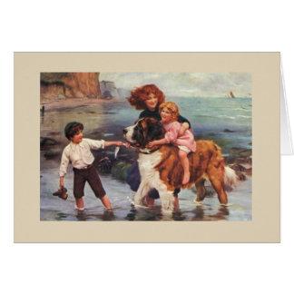 Jour de plage avec un St Bernard, Carte De Vœux