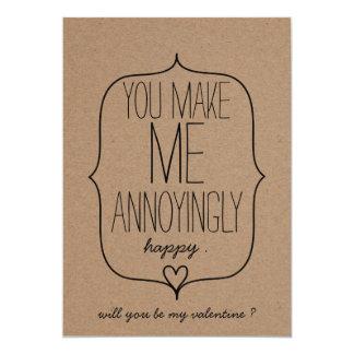 Jour de Valentines drôle de coeur mignon de papier Carton D'invitation 12,7 Cm X 17,78 Cm