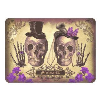 Jour gothique de couples de crâne du pourpre mort carton d'invitation  12,7 cm x 17,78 cm