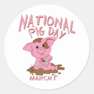 Jour national de porc adhésifs ronds