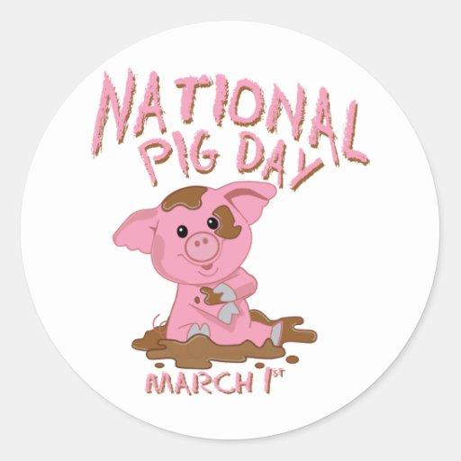 Jour national de porc autocollant