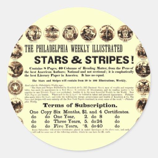 Journal hebdomadaire de 1918 étoiles et de rayures adhésifs ronds