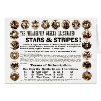 Journal hebdomadaire de 1918 étoiles et de rayures cartes de vœux