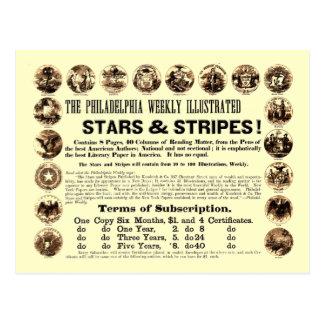 Journal hebdomadaire de 1918 étoiles et de rayures carte postale