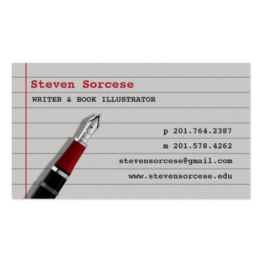 Journalist author writer business card zazzle for Author business card