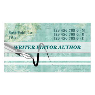 Journalist editor writing author handwriting business card templates