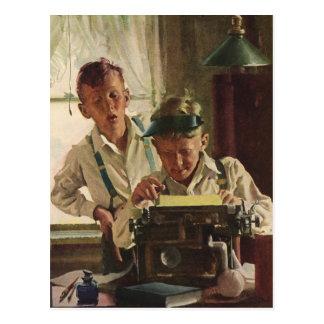 Journalistes vintages de journal de garçon cartes postales