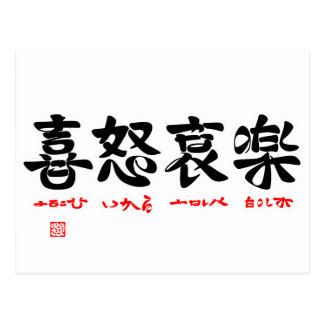 Joy and anger grief and happiness (word Chinese Postcard