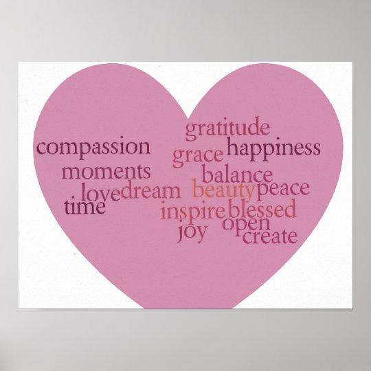 Joy and Gratitude Heart Poster