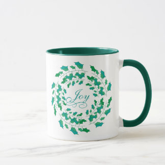 Joy and Holly Wreath Shades of Green Holiday Mug