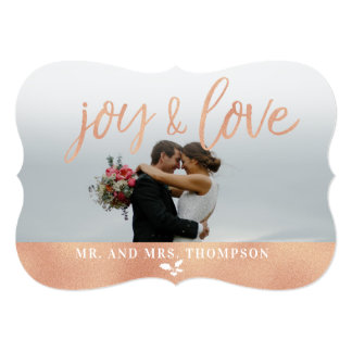 Joy and Love Christmas Holiday Rose Gold Card