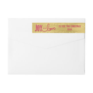 Joy and Love From Glittery Gold Christmas Wraparound Return Address Label