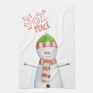 Joy and Peace | Cute Snowman Christmas Kitchen Towel