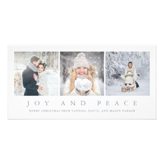 Joy and Peace | Modern Christmas Three Photos Card
