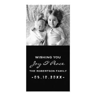 Joy and Peace - Photo Christmas Black White Photo Greeting Card