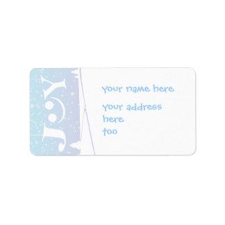 joy and snowflakes Christmas address label