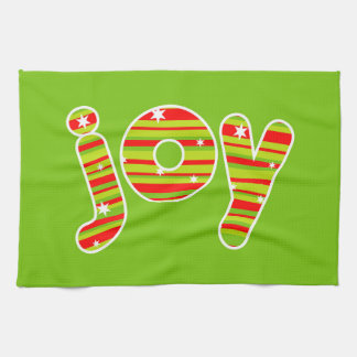 JOY at Christmas, Red & Green Stripes Kitchen Towel