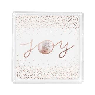 Joy | Beautiful Rose Gold Confetti Dots Acrylic Tray