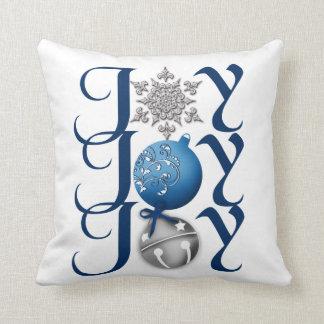 Joy (blue) Christmas Throw Pillow