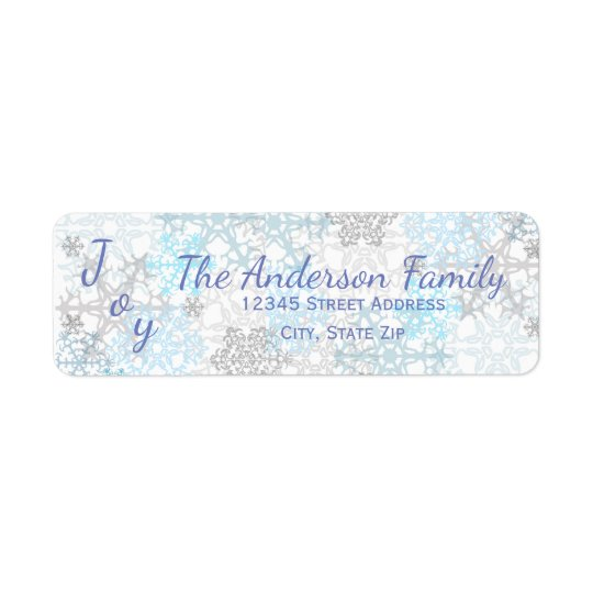 Joy Blue/White Snowflakes - Address Labels