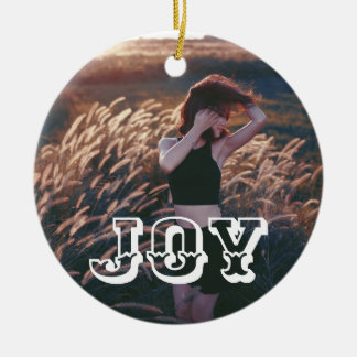 Joy Bold Script | Holiday Photo Ceramic Ornament