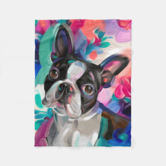 'Joy' Boston Terrier Dog Art fleece blanket