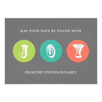 Joy Christmas Card Grey Green Coral Teal