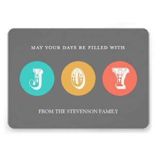 Joy Christmas Card Grey Yellow Coral Blue