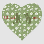 Joy Christmas Green and White Snowflakes Heart Stickers