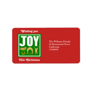 Joy Christmas Ponies Label