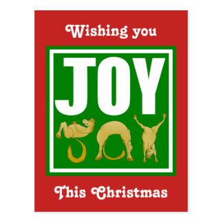 Joy Christmas Ponies Postcard
