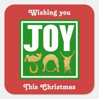 Joy Christmas Ponies Square Sticker