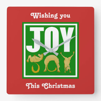Joy Christmas Ponies Square Wall Clock