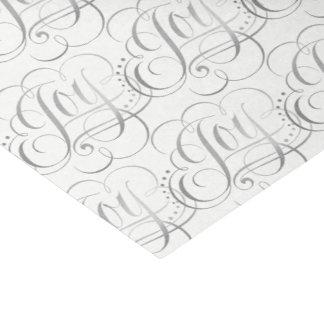 Joy - Christmas Silver Faux Foil Calligraphy Tissue Paper