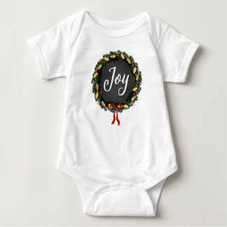 Joy - Christmas Wreath - Baby Bodysuit