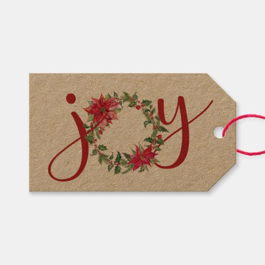 JOY Christmas Wreath Gift Tags